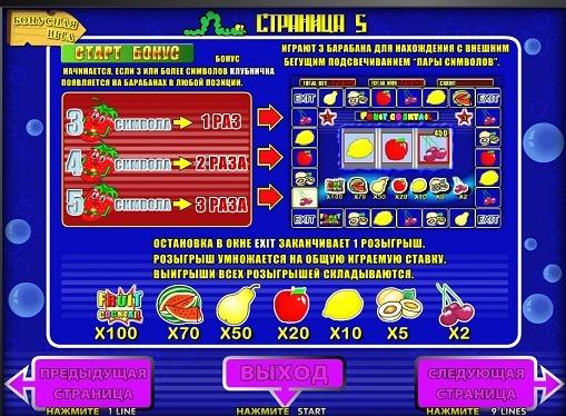 Bonus game of slot Fruit Cocktail