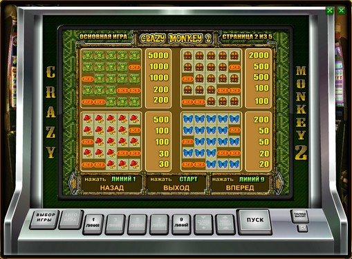Paytable of slot Crazy Monkey 2
