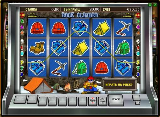 Winning line of slot Rock Climber
